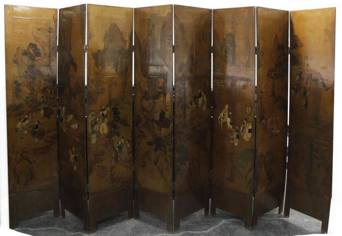 A Chinese Eight-Panel Floor Screen, Height of each