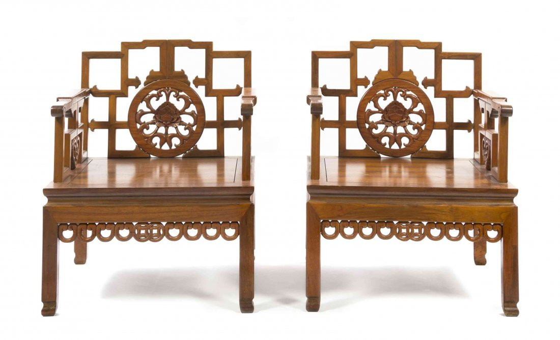 Two Chinese Carved Wood Armchairs, Height 29 1/8 x