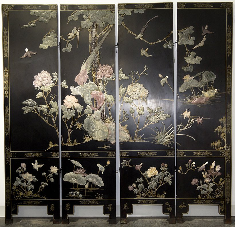 A Chinese Hardstone Inlaid Four-Panel Floor Screen,