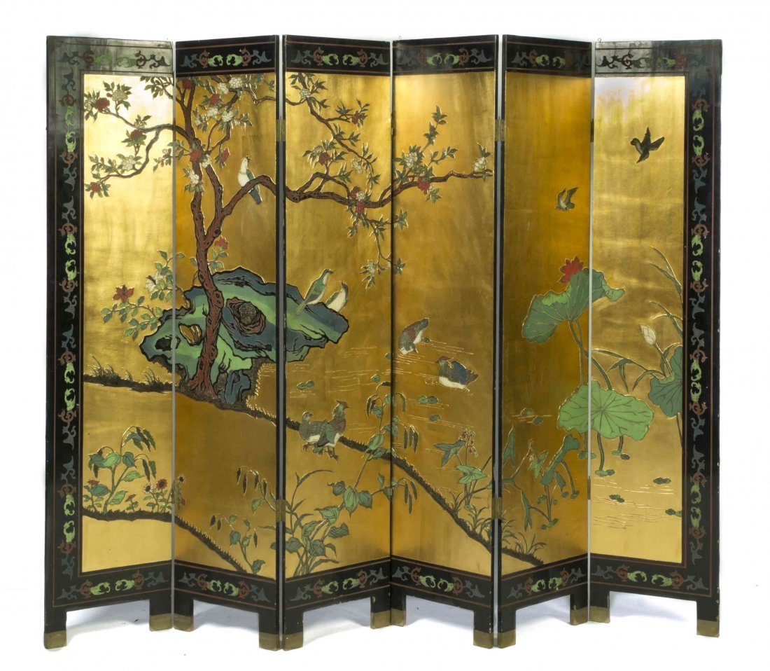 A Chinese Six-Panel Gilt and Lacquer Floor Screen,