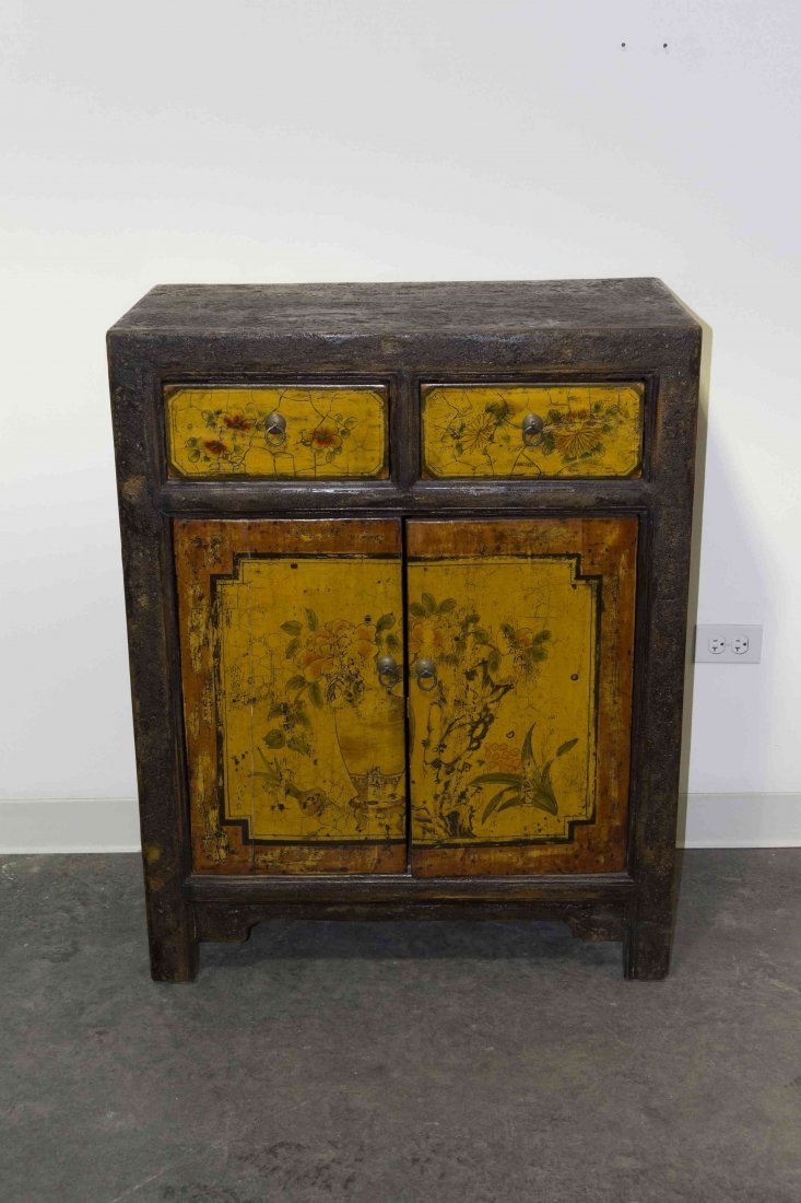 A Chinese Polychrome Decorated Cabinet, Height 40 x