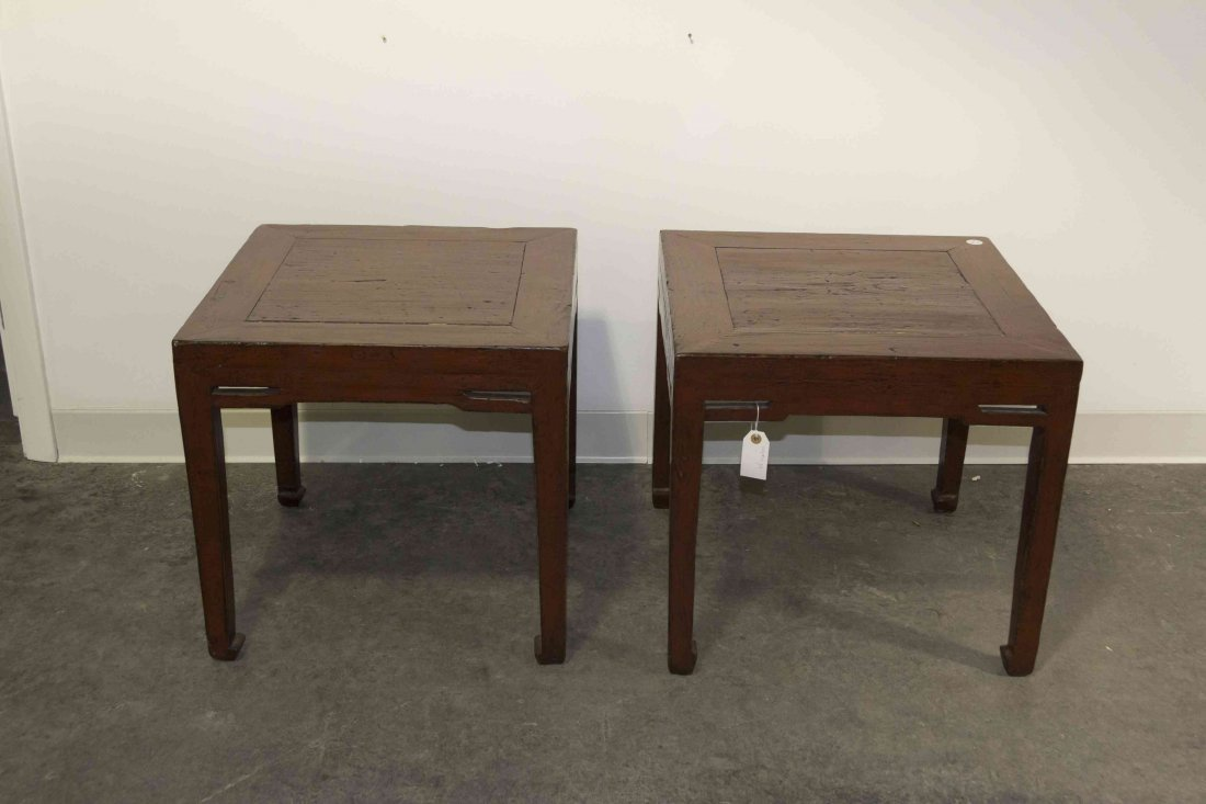 A Pair of Cedar or Cypress Red Square Tables, Height 20