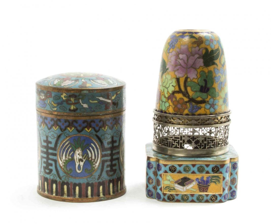 A Cloisonne Enamel Lantern, Height of tallest overall 5