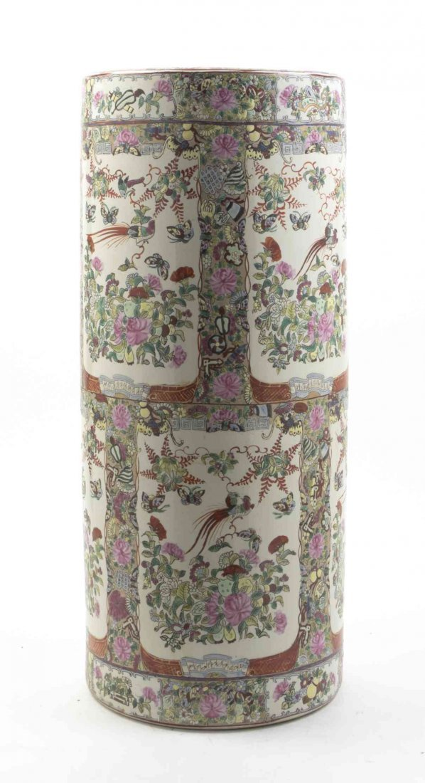 A Chinese Porcelain Umbrella Stand, Height 24 inches.