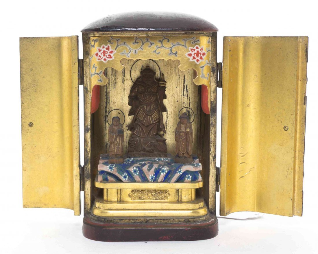 A Lacquered Japanese Traveling Shrine or Zushi, Height