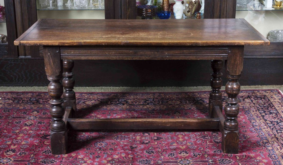 An English Provincial Oak Tavern Table, Height 30 x