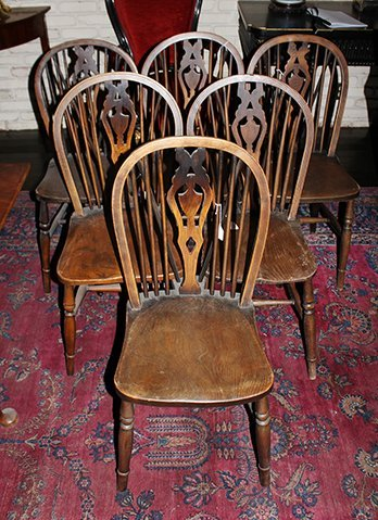 A Group of Six English Oak Windsor Side Chairs,
