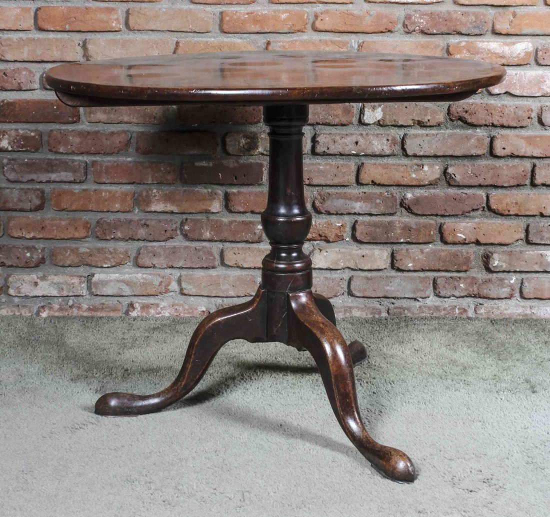 A Queen Anne Style Mahogany Tilt-Top Tea Table, Height