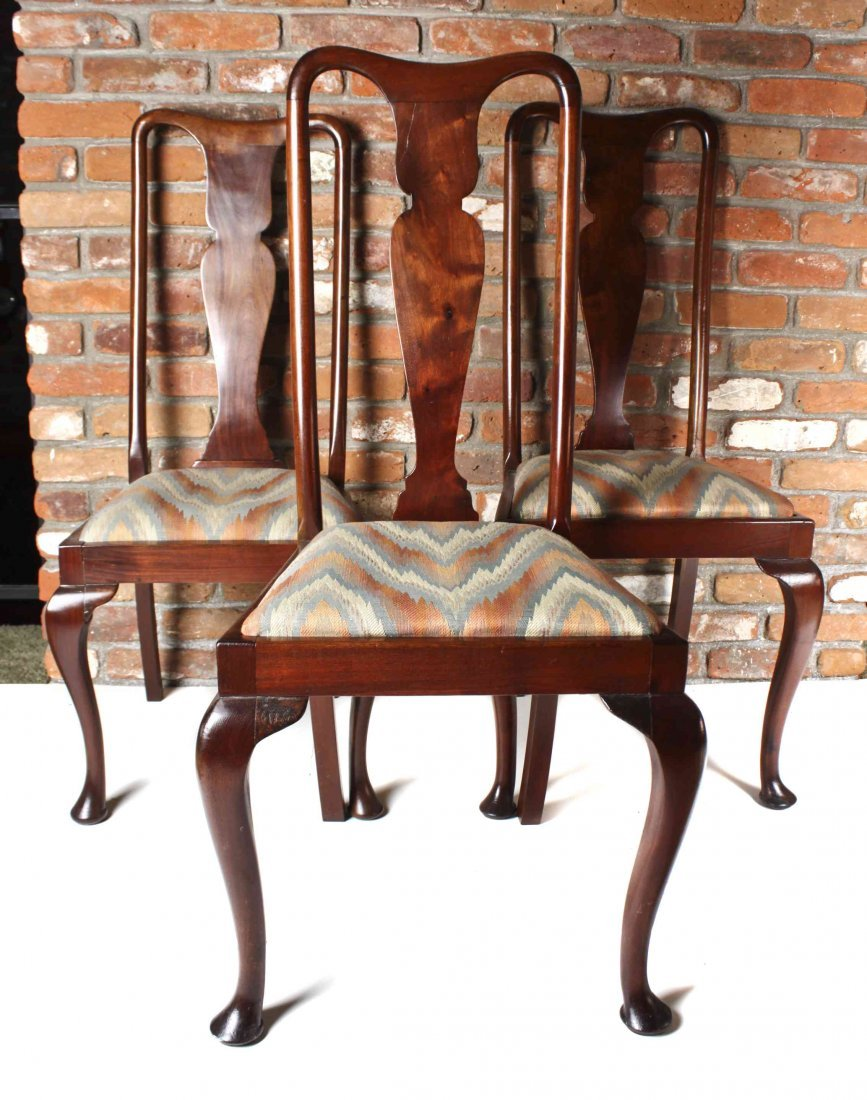 A Set of Six Queen Anne Style Mahogany Dining Chairs,