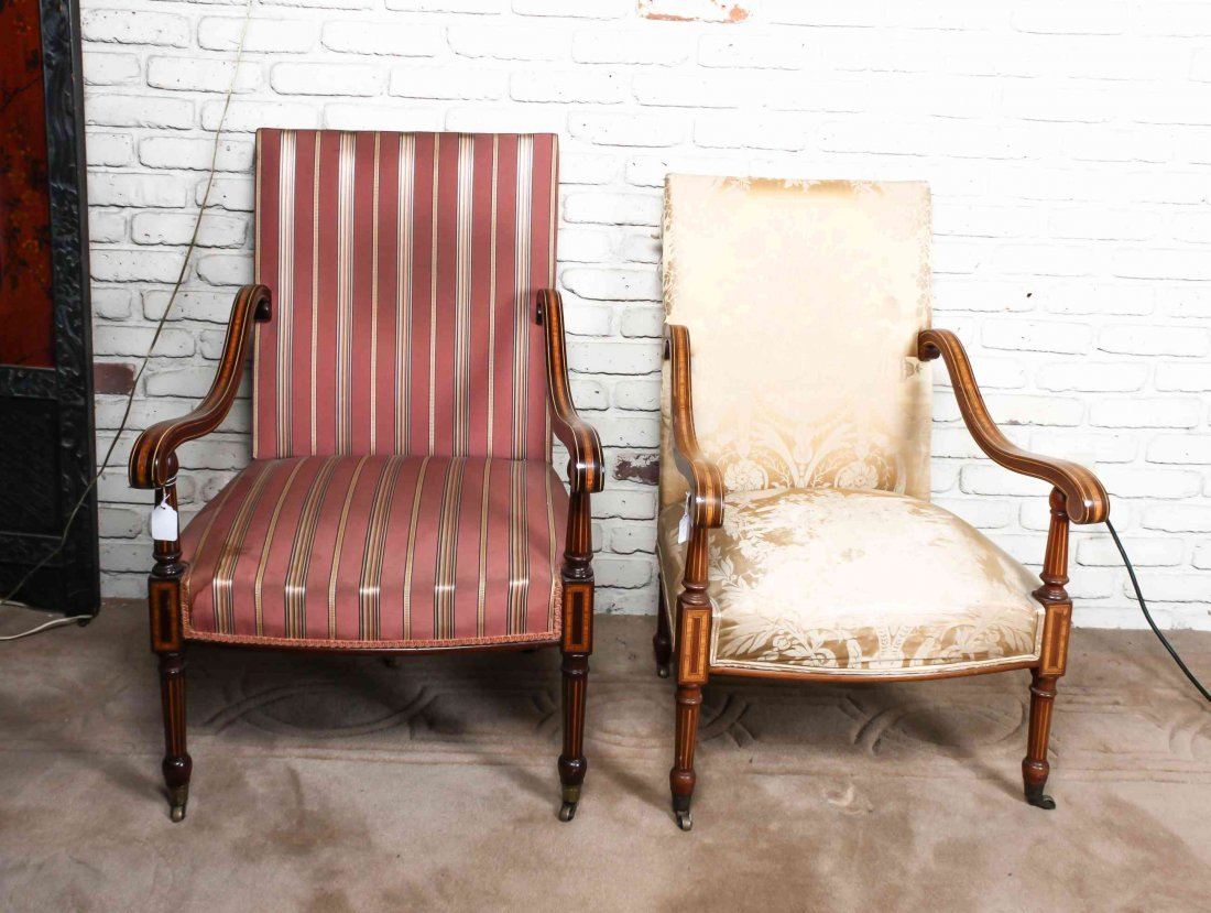 A Pair of Sheraton Style Open Armchairs, Height 38 1/4