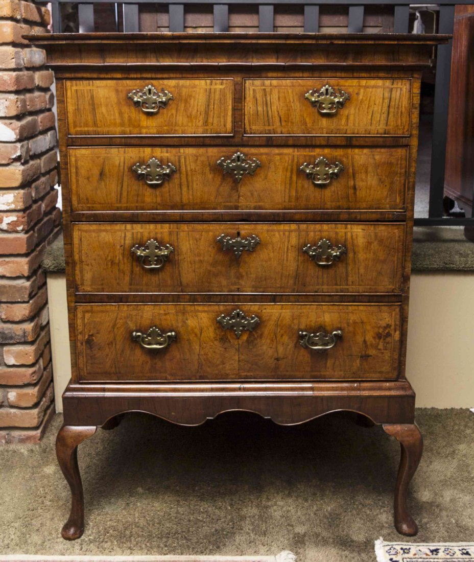 A George I Walnut Chest of Drawers on Stand, Height 54