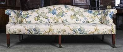 A George III Style Camelback Sofa, Height 34 x width 86