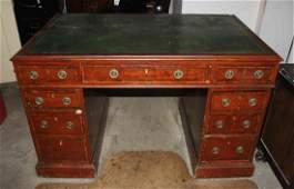 A George III Style Mahogany Double Pedestal Desk