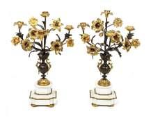 A Pair of Louis XVI Style Gilt Bronze Four-Light