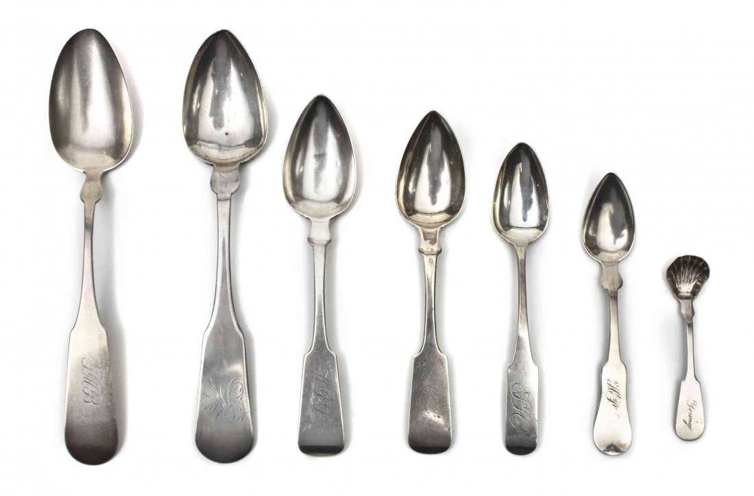 A Group of American Silver Spoons, Various Makers, 19th