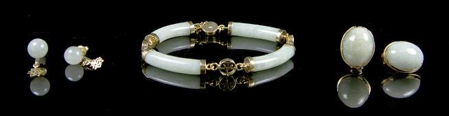 A Suite of Jade Jewelry, Diameter of bracelet 3 inches.