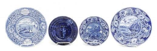 Four Historical Blue Staffordshire Plates, Enoch Wood &