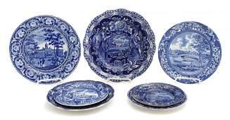 Six Historical Blue Staffordshire Plates, Diameter of
