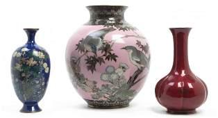 Three Japanese Cloisonne Enamel Vases, Height of