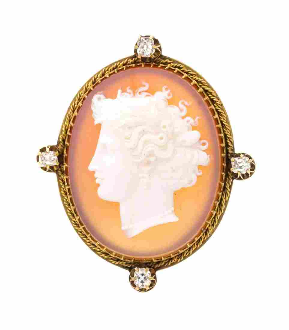 A Victorian Yellow Gold, Diamond and Agate Cameo