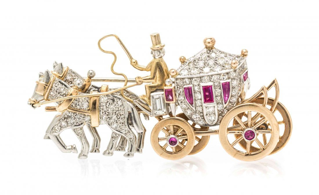A Platinum, Yellow Gold, Diamond and Synthetic Ruby