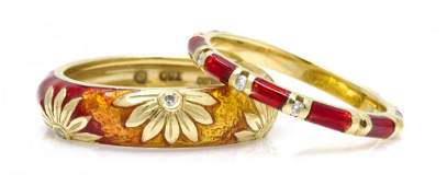 A Collection of 18 Karat Yellow Gold and Enamel Rings,
