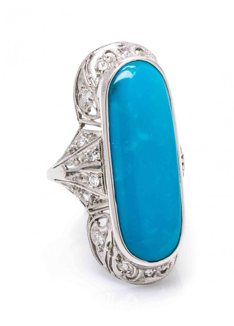 A Platinum, Turquoise and Diamond Ring, 5.10 dwts.