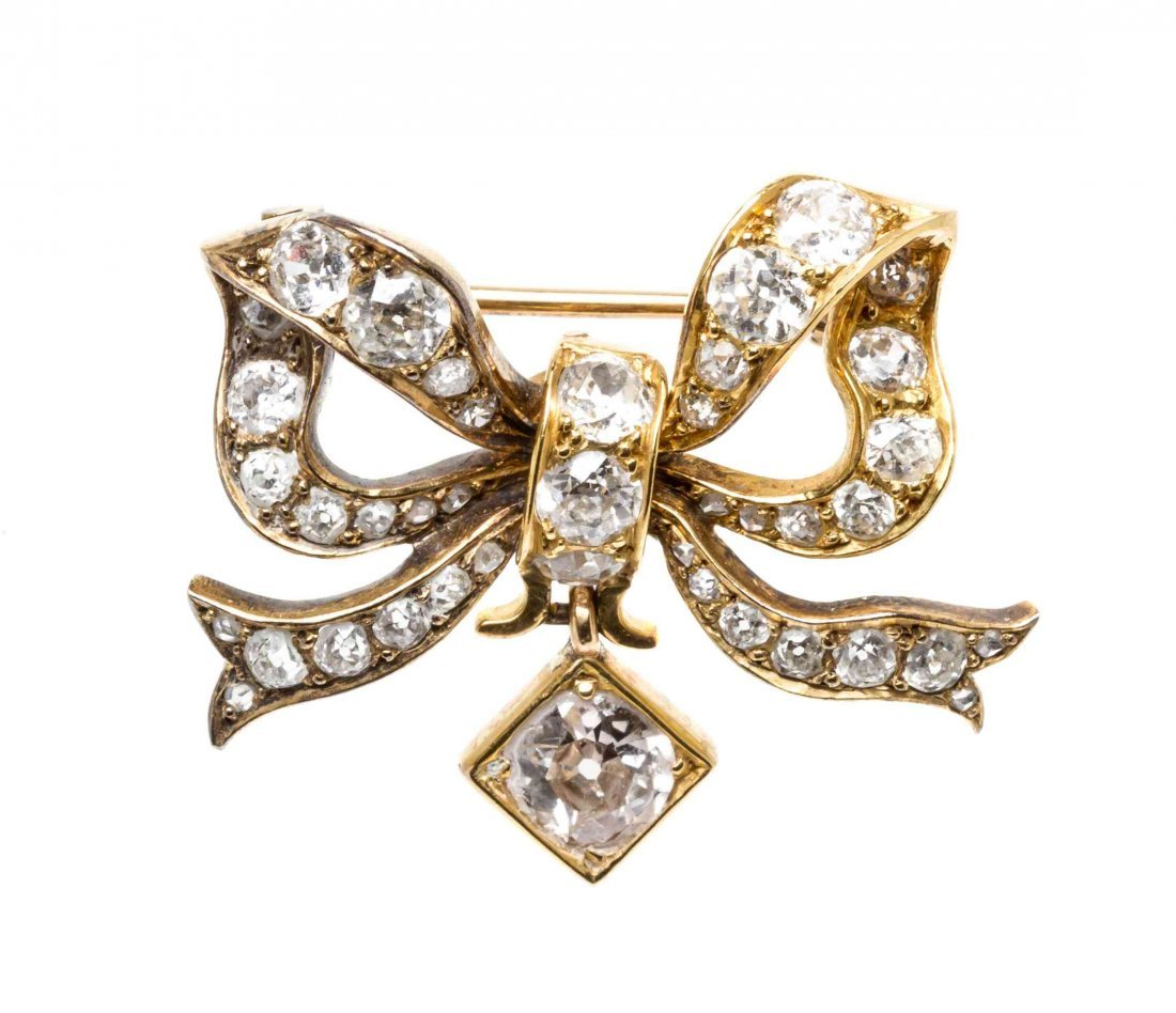 A 14 Karat Yellow Gold, Diamond and Pearl Butterfly