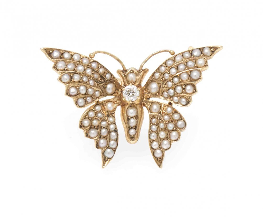 A 14 Karat Yellow Gold, Diamond and Pearl Butterfly - 3