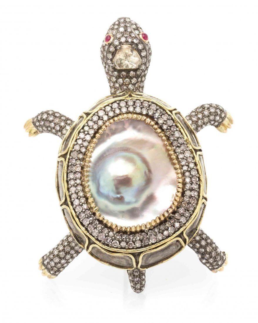 A 10 Karat Yellow Gold, Diamond, Mabe Pearl and Ruby