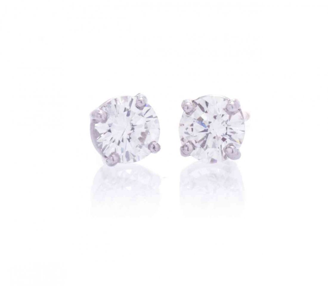 A Pair of White Gold and Diamond Studs Earrings, 1.10