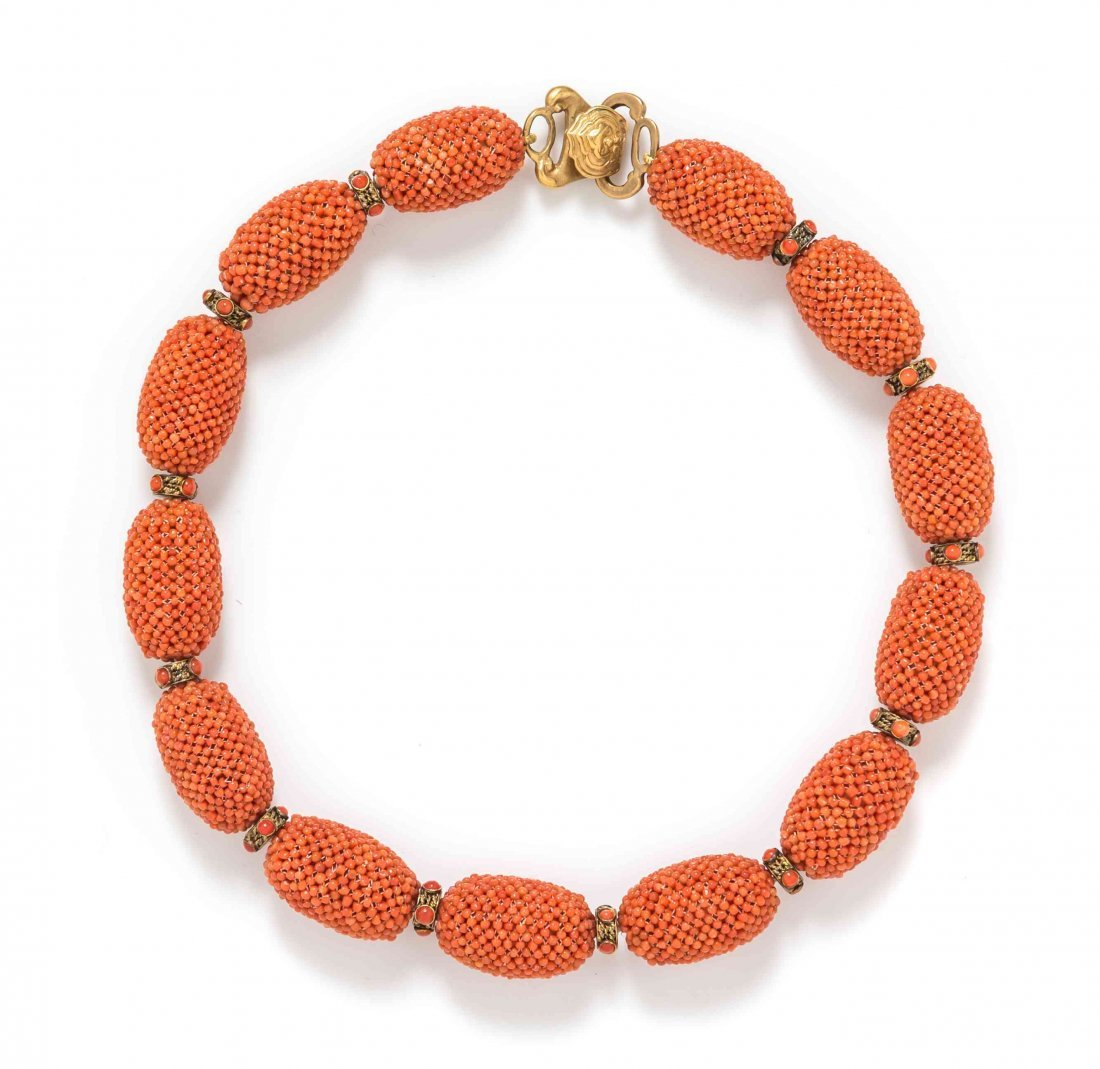 A Gold Tone and Coral Bead Necklace, Alice Kuo