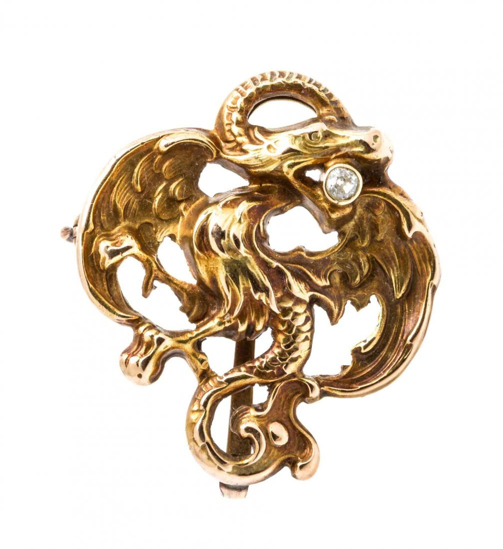 An Art Nouveau Yellow Gold and Diamond Dragon Brooch,