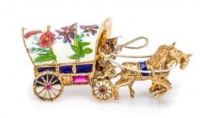 A Collection of 14 Karat Yellow Gold Enamel Diamond