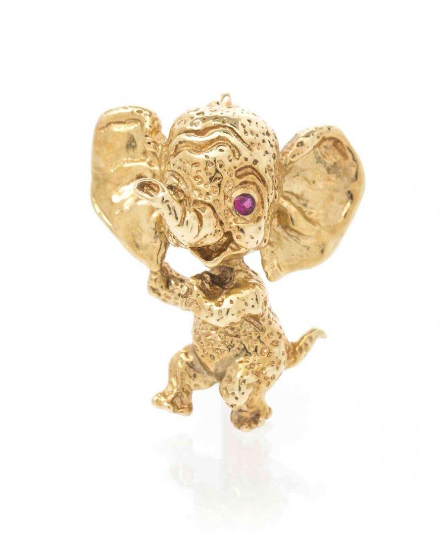 A Retro 14 Karat Yellow Gold and Ruby Elephant Pin,