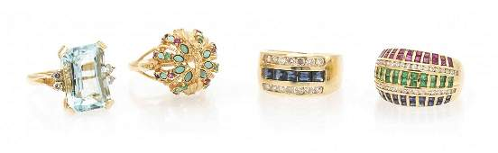 A Collection of Four Yellow Gold, Multi Gem and Diamond