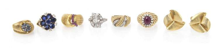 A Collection of Yellow Gold, Platinum and Multi Gem