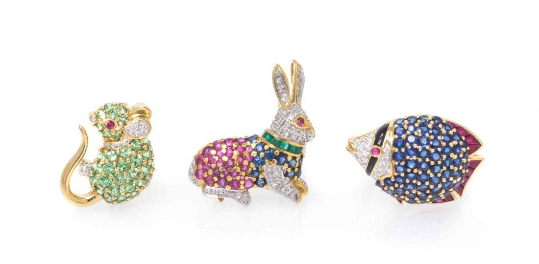 A Collection of 18 Karat Yellow Gold and Multi Gem