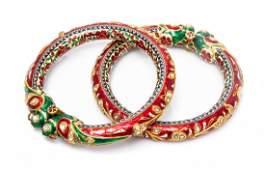 A Pair of Jaipur High Karat Gold Polychrome Enamel and