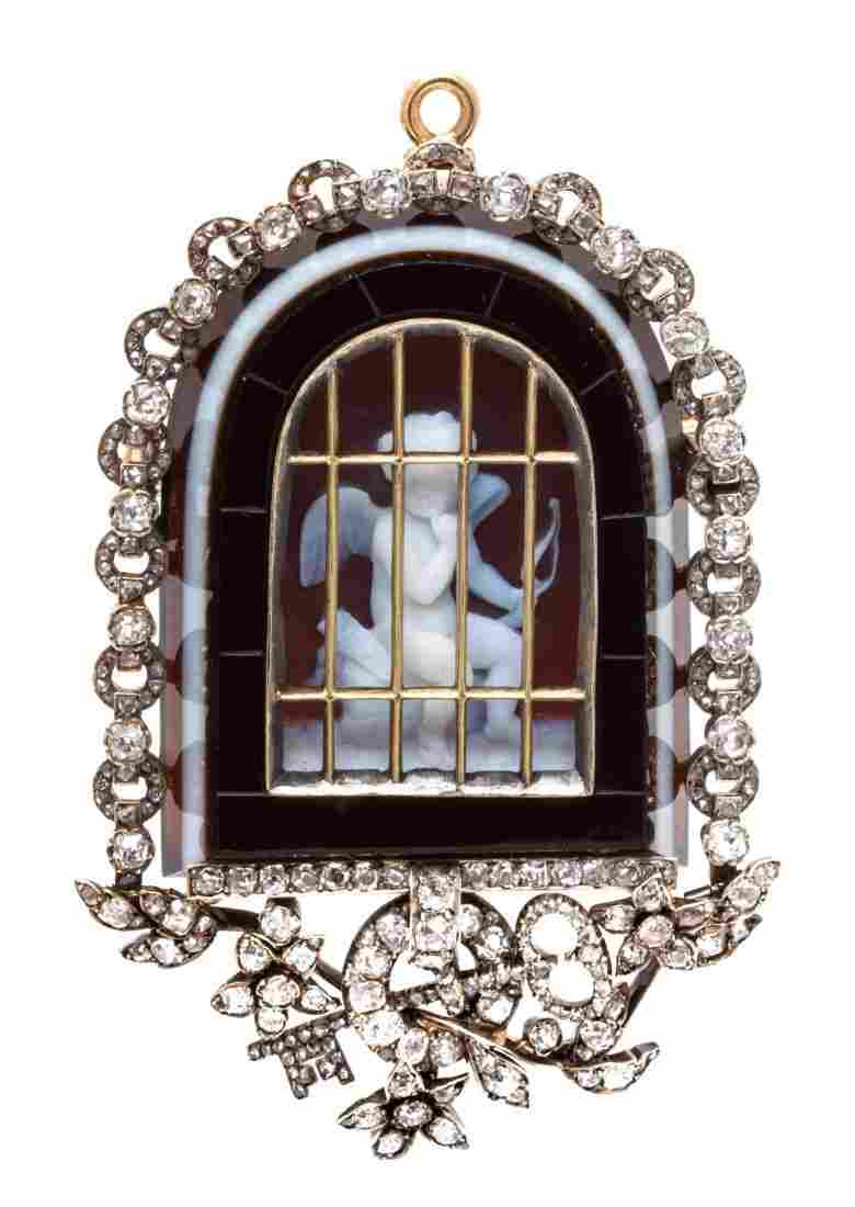 An Important Victorian Silver, Gold, Agate Cameo and
