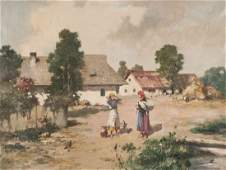 Two Decorative Village Landscape Paintings Height of