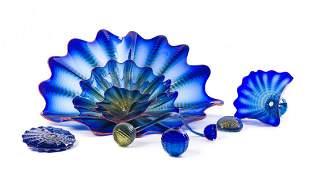 An American Studio Glass Nine-Piece Sculpture, Dale