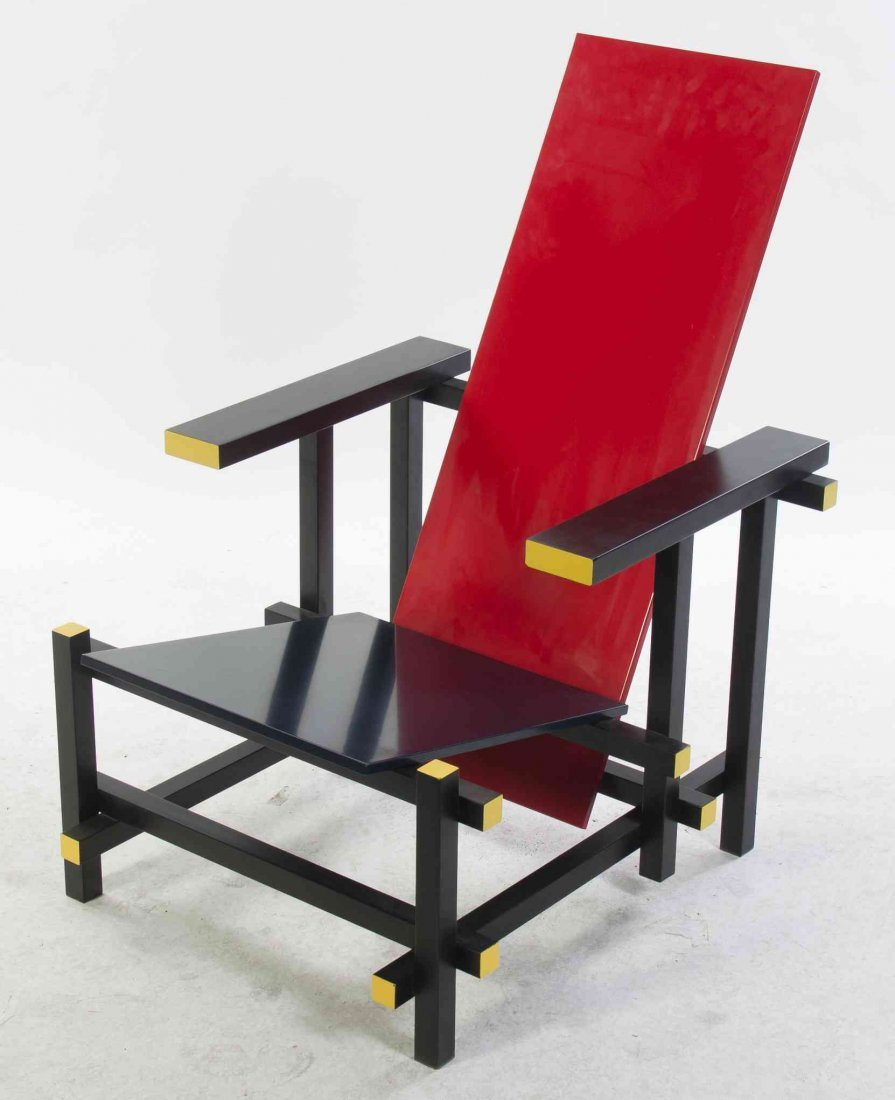 A Red and Blue Chair, after the Gerrit Rietveld Style,