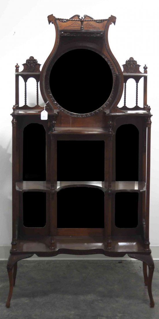 A Victorian Mahogany Etagere, Height 66 x width 32 x