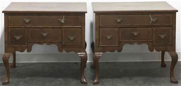 A Pair of Queen Anne Style Walnut and Inlay Lowboys,