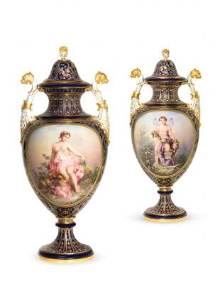A Pair of Meissen Porcelain Covered Urns, Height 16 1/4
