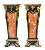 A Pair of Napoleon III Gilt Bronze Mounted Ebonized and