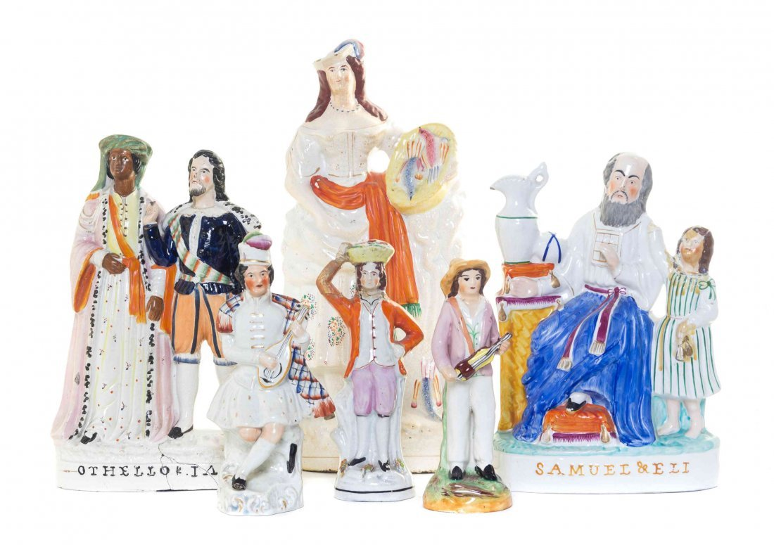 Six Staffordshire Figural Groups, Height of first 11