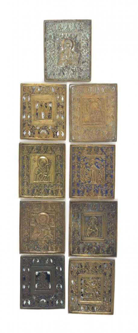 Nine Russian Polychrome Enameled Bronze Icons, Height