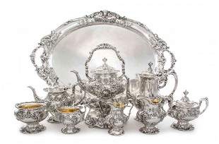 An American Silver Eight-Piece Tea and Coffee Set and